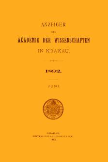 Anzeiger der Akademie der Wissenschaften in Krakau. No 6 Juni (1892)