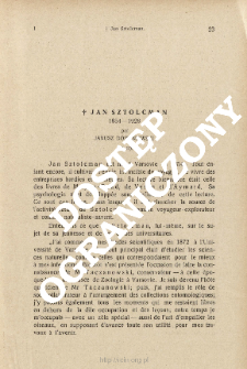 Jan Sztolcman 1854-1928