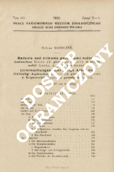 Badania nad kilkoma gatunkami rodzaju Asplanchna Gosse (A. girodi de Guerne, A. brightwellii Gosse, A. priodonta Gosse)