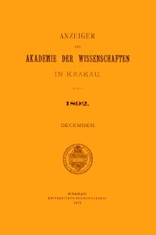 Anzeiger der Akademie der Wissenschaften in Krakau. No 10 December (1892)