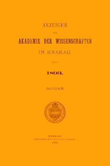 Anzeiger der Akademie der Wissenschaften in Krakau. No 1 Januar (1893)