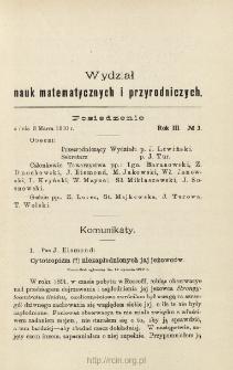Sprawozdania z Posiedzeń Towarzystwa Naukowego Warszawskiego, Wydział III, Nauk Matematycznych i Przyrodniczych. Rok III. No. 3.