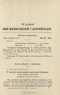 Sprawozdania z Posiedzeń Towarzystwa Naukowego Warszawskiego, Wydział III, Nauk Matematycznych i Przyrodniczych. Rok III. No. 9.