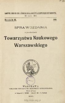 Sprawozdania z Posiedzeń Towarzystwa Naukowego Warszawskiego, Spis treści i dodatki. Rocznik 3 (1910)