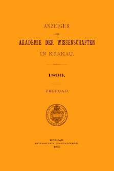 Anzeiger der Akademie der Wissenschaften in Krakau. No 2 Februar (1893)