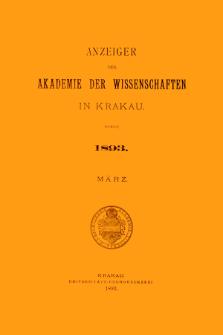 Anzeiger der Akademie der Wissenschaften in Krakau. No 3 März (1893)