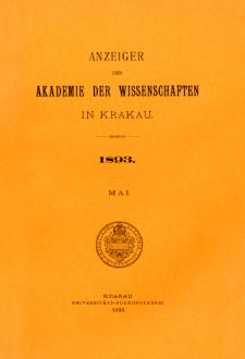 Anzeiger der Akademie der Wissenschaften in Krakau. No 5 Mai (1893)