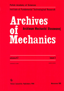 Archives of Mechanics Vol. 47 nr 3 (1995)