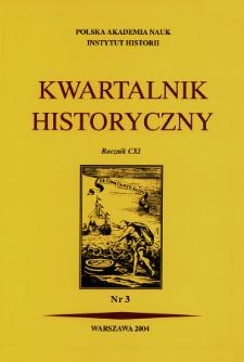 Kwartalnik Historyczny. R. 111 nr 3 (2004), Strony tytułowe, spis treści