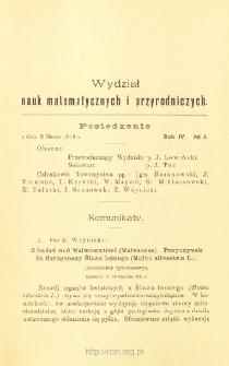 Sprawozdania z Posiedzeń Towarzystwa Naukowego Warszawskiego, Wydział III, Nauk Matematycznych i Przyrodniczych. Rok IV. No. 3.