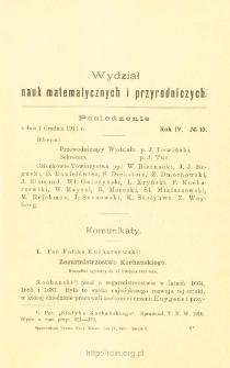 Sprawozdania z Posiedzeń Towarzystwa Naukowego Warszawskiego, Wydział III, Nauk Matematycznych i Przyrodniczych. Rok IV. No. 10.