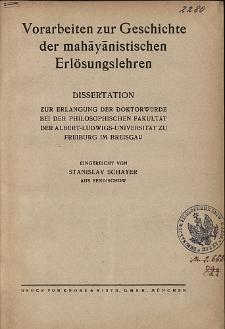 Vorarbeiten zur Geschichte der mahāyānistischen Erlösungslehren : Dissertation zur Erlangung der Doktorwürde