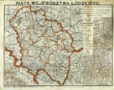 Mapa województwa łódzkiego w skali 1:500,000 ze szczegółowemi mapkami okolic Łodzi, Kalisza i Piotrkowa w skali 1:200,000