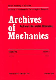 Archives of Mechanics Vol. 46 nr 3 (1994)
