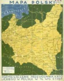 Mapa Polski : rozmieszczenie Przewodnika Katolickiego w Polsce w % w-g stref