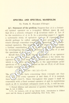 Spectra and spectral manifolds