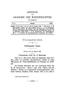 Anzeiger der Akademie der Wissenschaften in Krakau. No 1 Januar (1898)