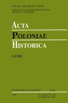 Acta Poloniae Historica. T. 72 (1995), News