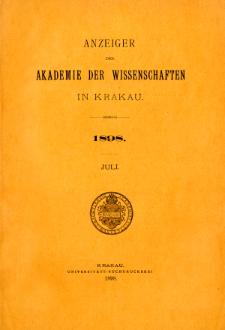 Anzeiger der Akademie der Wissenschaften in Krakau. No 7 Juli (1898)