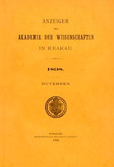 Anzeiger der Akademie der Wissenschaften in Krakau. No 9 November (1898)