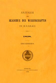 Anzeiger der Akademie der Wissenschaften in Krakau. No 10 December (1898)