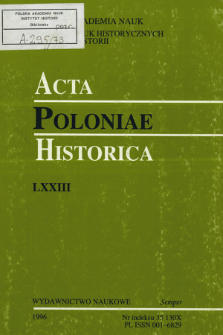 Acta Poloniae Historica. T. 73 (1996), Title pages, Contents