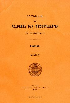 Anzeiger der Akademie der Wissenschaften in Krakau. No 3 März (1899)
