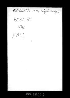 Redlin. Kartoteka powiatu wareckiego w średniowieczu. Kartoteka Słownika historyczno-geograficznego Mazowsza w średniowieczu