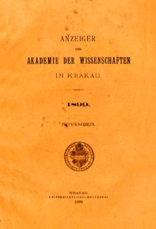 Anzeiger der Akademie der Wissenschaften in Krakau. No 9 November (1899)