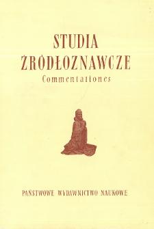 Studia Źródłoznawcze = Commentationes T. 24 (1979), Od Redakcji