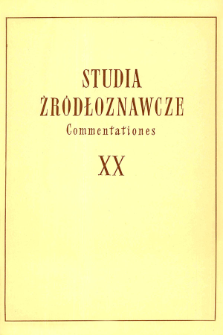 Studia Źródłoznawcze = Commentationes T. 20 (1976), Title pages, Contents