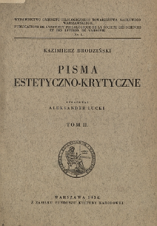 Pisma estetyczno-krytyczne. T. 2.