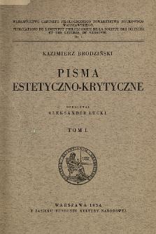 Pisma estetyczno-krytyczne. T. 1.