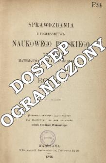 Sprawozdania z Piśmiennictwa Naukowego Polskiego w Dziedzinie Nauk Matematycznych i Przyrodniczych, Rok III (1884)