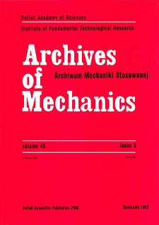 Archives of Mechanics Vol. 45 nr 3 (1993)