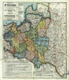 Mapa Polski w granicach obecnych z podziałem na województwa = Carte de la Pologne dans ses frontieres actuelles avec partage en voïévodies (palatinats)
