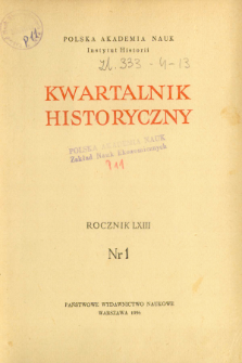 Kwartalnik Historyczny R. 63 nr 1 (1956), Title pages, Contents