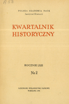 Kwartalnik Historyczny R. 63 nr 2 (1956), Title pages, Contents