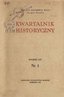 Kwartalnik Historyczny R. 65 nr 1 (1958), Strony tytułowe, Spis treści