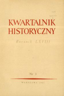 Kwartalnik Historyczny R. 68 nr 3 (1961), Strony tytułowe, Spis treści