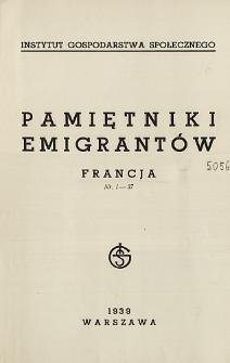Pamiętniki emigrantów : Francja : nr. 1-37