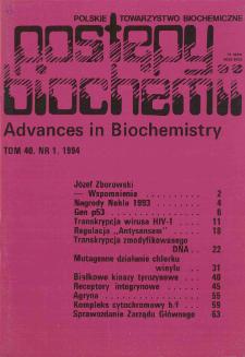 Postępy biochemii, Tom 40, Nr 1