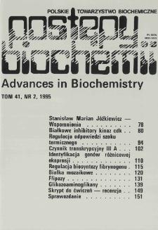 Postępy biochemii, Tom 41, Nr 2