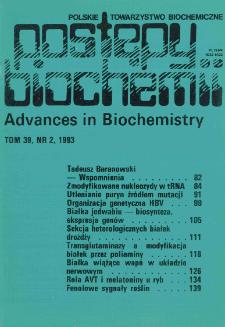 Postępy biochemii, Tom 39, Nr 2