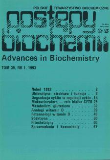 Postępy biochemii, Tom 39, Nr 1