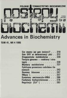 Postępy biochemii, Tom 41, Nr 4