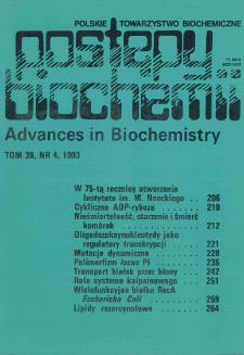 Postępy biochemii, Tom 39, Nr 4
