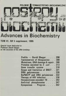 Postępy biochemii, Tom 41, Nr 5 Supplement