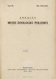 Annales Musei Zoologici Polonici ; t. 9 - Spis treści