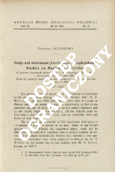 Studies on Mexican Corixidae : from the scientific results of the Mexican trip of Dr. T. Jaczewski and Dr. T. Wolski, in 1929